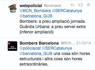 El portaveu de Bombers de Barcelona reconeix a twitter que cobren les hores com a estructurals i no extres.