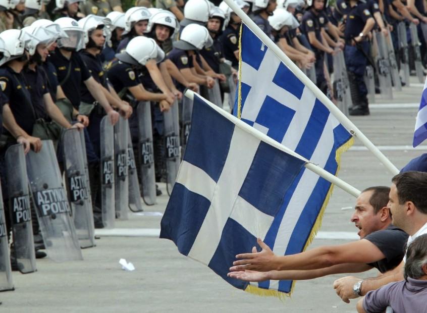 Manifestació per retallades a la Plaça Sintagma, davant el Parlament grec.