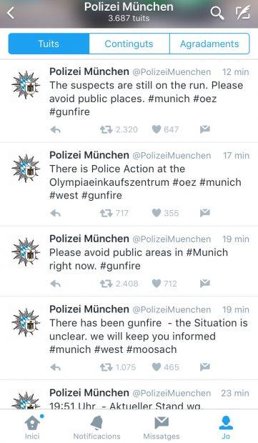 Piulades de la policia de Munich durant l'atac.